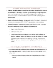 Methods of incorporation - Class Note