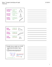 Guided Notes - Triangles - classifying missing angles