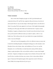 Theater 120 Peer Review Essay