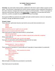 Lecture 6 Fat-Soluble Vitamin Study Guide