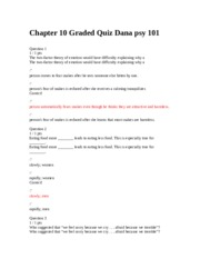 Chapter 10 Graded Quiz Dana psy 101