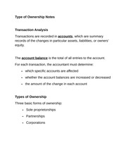 Type of Ownership Notes