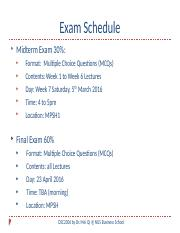 Exam Schedule Revised