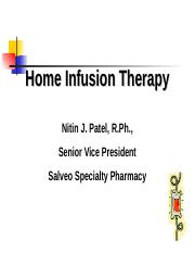 Home Infusion Therapy - August 2014