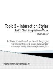 5-InteractionStyles3_Direct Manipulation and Virtual Environment