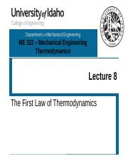 L08 - The First Law of Thermodynamics