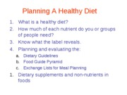 Chapter 2, Planning a Healthy Diet