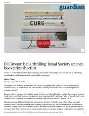 Bill Bryson hails 'thrilling' Royal Society science book prize shortlist _ Books _ The Guardian.pdf