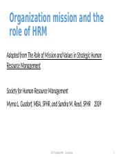 Organization mission and the role of HRM (1)