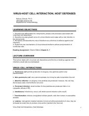 0803_Virus-Host_Cell_Interactions,_Host_Defenses_NOTES EXAM 2.pdf