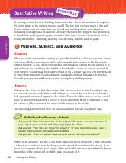 Descriptive Writing Guidelines