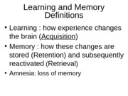 Learning and Memory for BB 2012