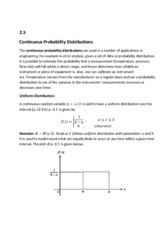 2.5  Continuous Probability Distributions