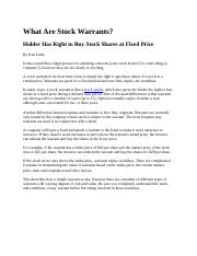 What Are Stock Warrants (Original).docx