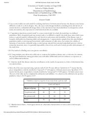 EPID168 Final Exam Answer Guide, Fall 1999