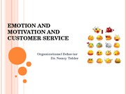 Emotions, Motivation and Customer Service
