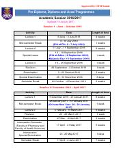 Academic Sessions 2016-2017