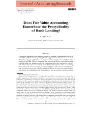 Does Fair Value Accounting Exacerbate the Procyclicality of Bank Lending