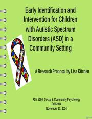 Early Identification and Intervention for Children with Autism Spectrum Disorders