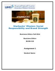 Starbucks Mission Social Responsibility and Brand Strength.docx