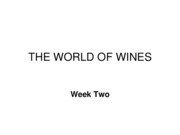 The World of Wines - Week 2