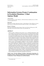 Information System Project continuation in Escalating System