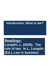Week 4 Lectures 7 and 8 What is Law