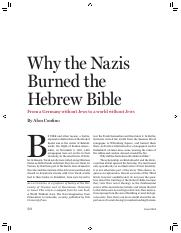 Why the Nazis Burned the Hewrew Bible