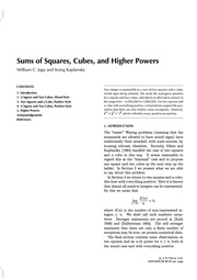 Sums of Squares, Cubes, and Higher Powers