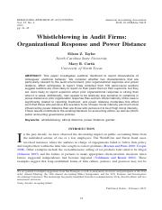 [ folder 6 ]   2. Whistleblowing in Audit FirmsOrganizational Response and Power Distance.pdf