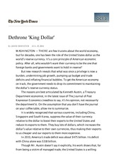Dethrone 'King Dollar' - NYTimes