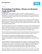 In Nutrition Initiative, Disney to Restrict Advertising - NYTimes.com