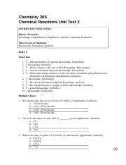 Chemical Reactions Unit Test 2 - Answer Key.doc