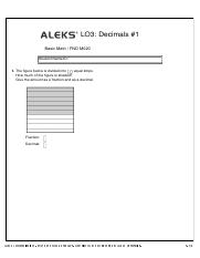 LO3  Decimals Worksheet #1