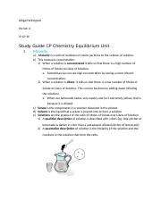 study guide molarity and chemical wquilibrium .docx