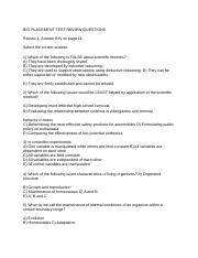 BIO PLACEMENT TEST REVIEW QUESTIONS