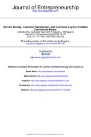 Service Quality, Customer Satisfaction, and Customer Loyalty in Indian Commercial Banks