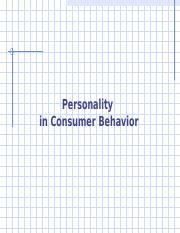 CB Lecture 8 - Personality Fall 16 rev