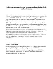 Pakistan economy assignment summary  on the agricultural role on Pak Economy.docx