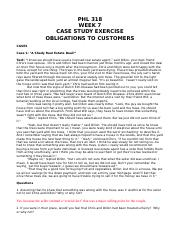 PHL 318 - Week 7 Cases - Obligations to Customers.doc