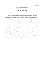 Reflective Statement- Teacher Interview ECE100.docx
