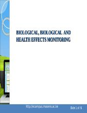 Topic 8 - Monitoring for Toxic Exposures - Biomonitoring An Overview.ppt