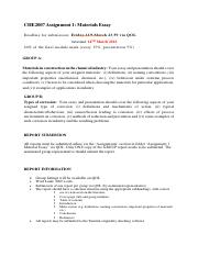 CHE2007 Assignment 1 Guidelines