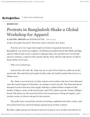 Protests in Bangladesh Shake a Global Workshop for Apparel - The New York Times