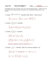Chapter 7 Test Solutions