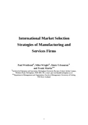 International Market Selection Strategies of Manufacturing and Services Firms