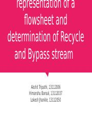 Graph theoretical representation of a flowsheet and determination of Recycle and Bypass stream