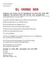 Ser Spanish El Verbo Ser Completa Las Frases Con La Conjugacin