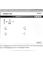 6TH Grade Math Test, Fractions