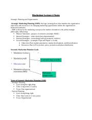 Introduction to Marketing Lecture 4 Notes